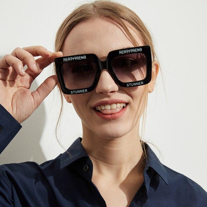 Fashion Retro Letters Large Square Sunglasses Versatile Clear Colored Lens Ac Festival PC Frame Sunglasses Women UV400