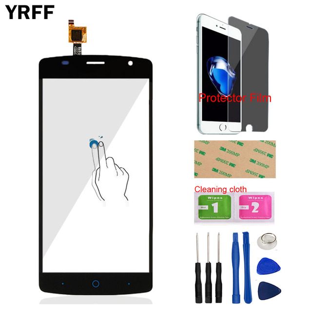 YRFF 5.0'' Mobile Front Glass Touch Screen Touch Digitizer Panel For ZTE Blade L5 Plus Sensor Tools Free Protector Film Adhesive