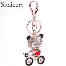 Sitaicery Cute Bear Keychain Fashion Pompom Crystal On A Backpack Pendant Marvel Chaveiro Womans Accesories