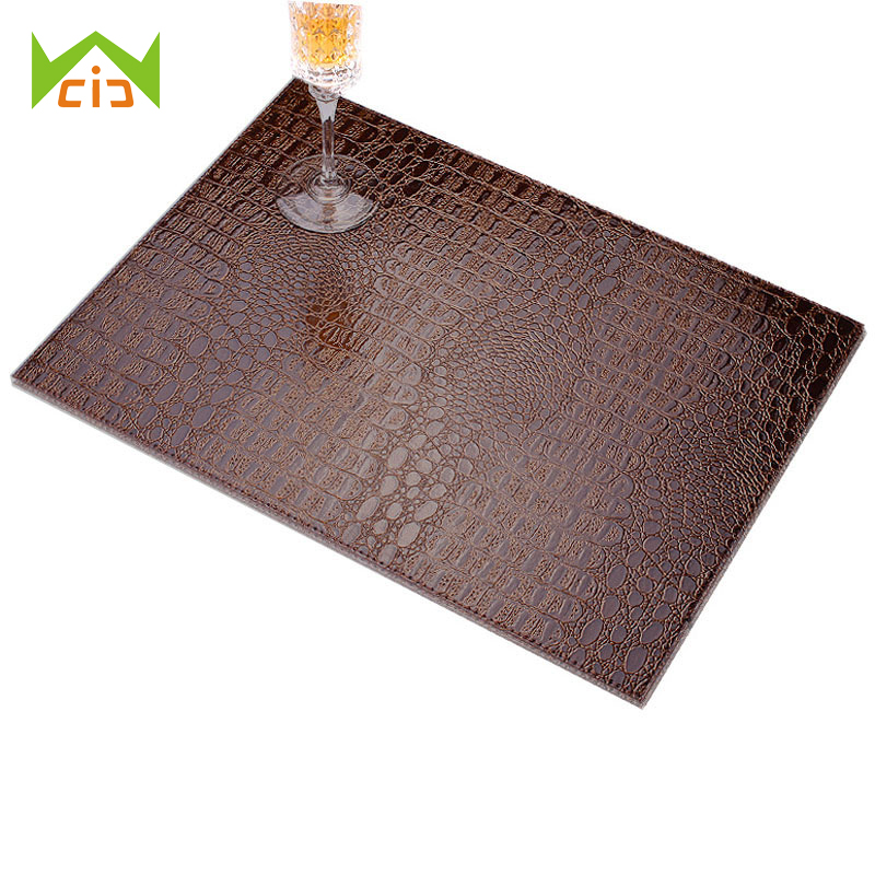 WCIC European Style Crocodile Pattern Table Mat Decorative Coffee Coasters Insulation Pad Mat PU Leather Placemat