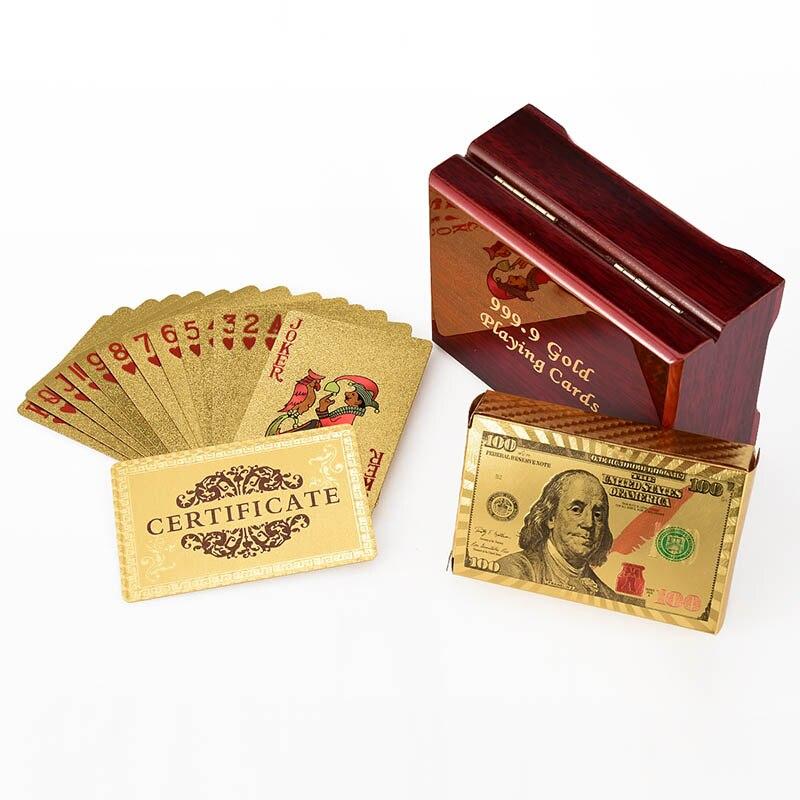 (Golden carte + scatola di legno + carta di Certificato) lamina d'oro Carte Da Gioco Poker Stagnola di Oro Placcato Carte Da Poker Divertente di Alta qualità giochi