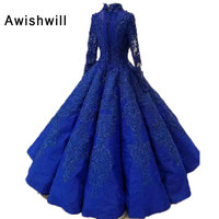 Royal Blue Arabic Evening Dresses Long 2018 Floor Length Beaded Appliques Ball Gown Party Formal Dress Muslim Real Pictures