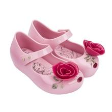 Mini Melissa 2017 New Arrivals Beauty & Beast Girls Jelly Sandals Princess Sandals Non-Slip Girls Shoes Rose + Teacup Sandals
