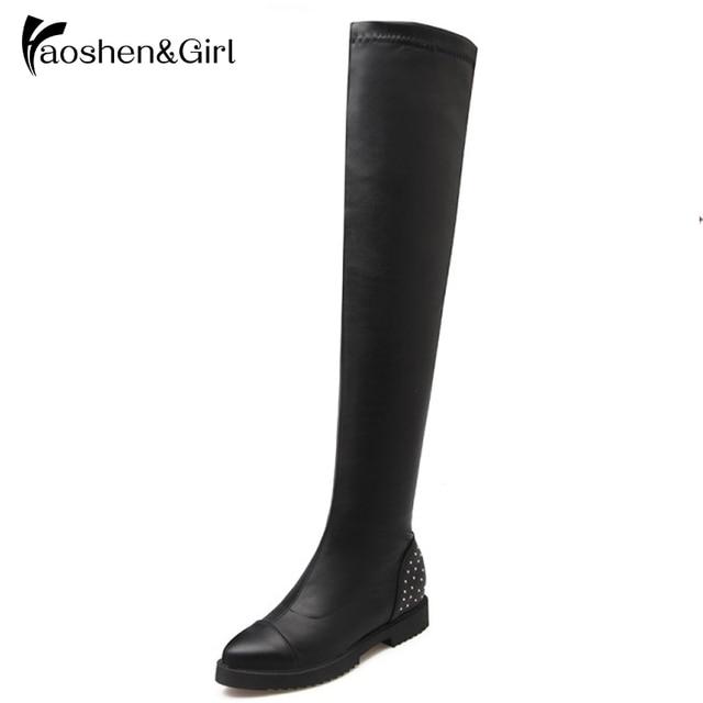 Haoshen&Girl Women Over Knee Boots Ladies Riding Fashion Long Snow Boot Warm Winter Brand High Heel Cool Footwear Shoes G115