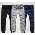 2016 Mens Joggers Carga Hombres Pantalones de Bolsillo Único con cordones Deportivos Pantalones Harén Hombres Pantalones Hombres Pantalones Hombre