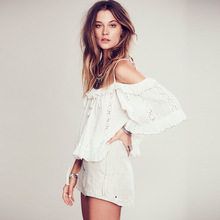 2017 new hot sexy lace top women's white color ruffles loose camis summer off shoulder short lace tank top bohemian summer top