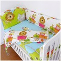 Promotion! 6PCS Lion Bedding Set For Baby Green Color With Character Baby Crib Bed Set Free Shipping (bumper+sheet+pillow cover)