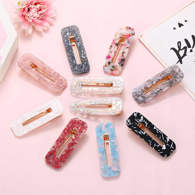 Rectangle Hair Clip Aligator Clamp Barrettes Hairpin for Women Girls Geometric Sequin Foil Hair Pins Decorative Hair Accessories
