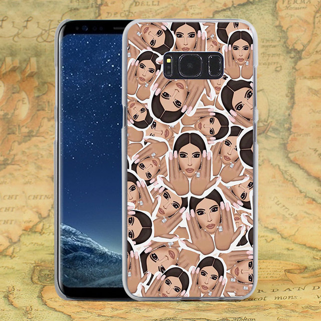 Kim Kardashian Crying Emoji design hard transparent Case for Samsung Galaxy S6 S7 edge S8 Plus s5 note 5 4