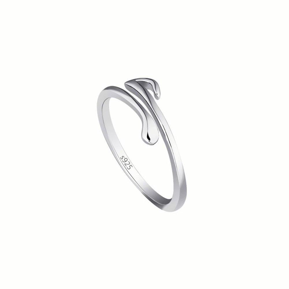 Fashion fresh soothing note shape ring for women.Open adjustable size index finger note shape ring.Suitable for parties.(China)