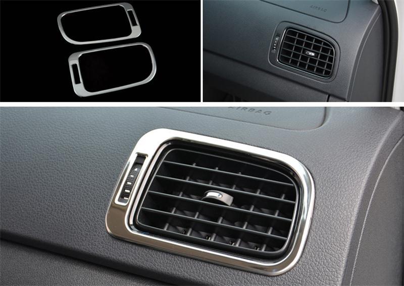 Автомобильный Стайлинг для Volkswagen vw POLO, накладка, аксессуары для интерьера, кондиционер, на выходе, декоративная крышка, наклейка, авто аксессуары - Название цвета: Silver