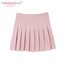 Aelegantmis Милая плиссированная джинсовая юбка в стиле Лолиты, Женская Милая Мини-юбка с высокой талией, трапециевидная Матросская юбка Harajuku, школьная юбка для девочек