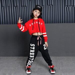 Image 2 - Bambini Hip Hop Felpe Abbigliamento per le Ragazze Ritagliata Felpa Magliette E Camicette Jogger Pantaloni Jazz Costumi di Ballo di Sala Da Ballo di Danza Vestiti di Usura