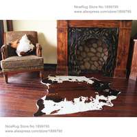 3 piece 1 set wholesale price for Brown cowhide rug 4.6x4.4 Feet (140X135CM) white cow printed carpet for home Mat Non-Slip Rug