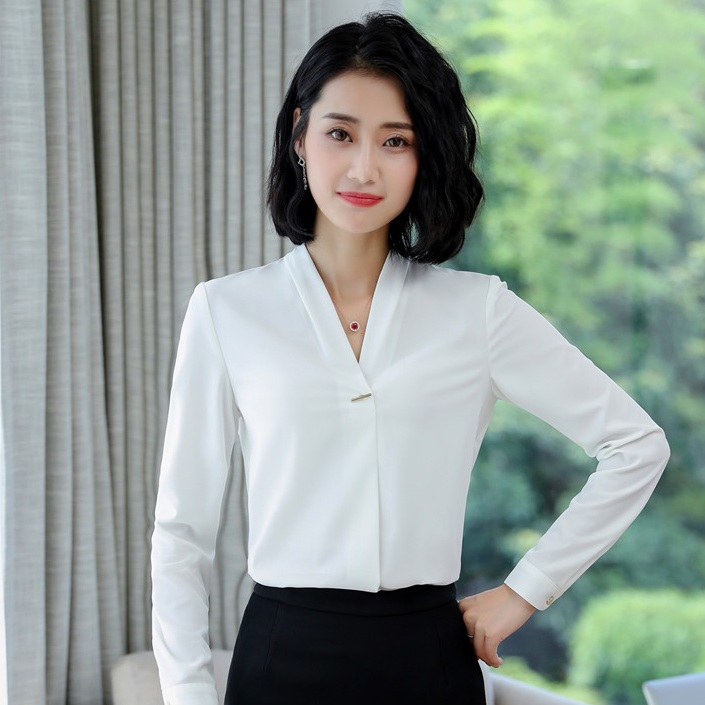 a58bf0fae11 Fashion Women Blouses   Shirts Light Blue Long Sleeve Ladies Tops Female  Business Clothes OL Styles