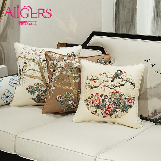 Avigers Velvet Cushion Cover Printed Pillow Case Round Bird Christmas Tree Flower Home Decorative Sofa Throw