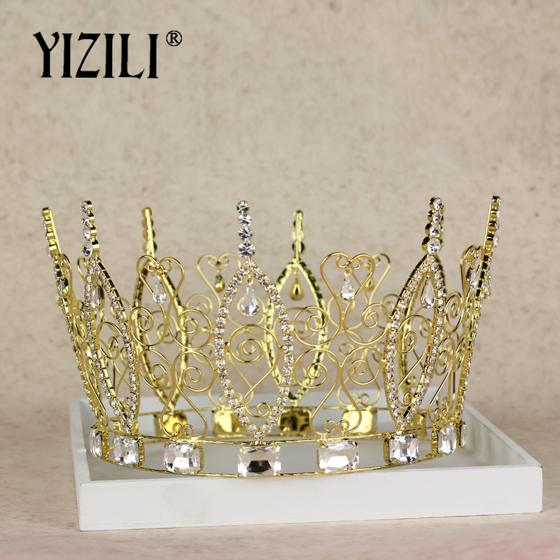 New Fashion Baroque Luxury Big King Queen Tiara and Crown Crystal Tiara Hairband Gold Rhinestone Pageant Crowns Party C 046 queen and king style party cosplay headwears golden 2 pcs