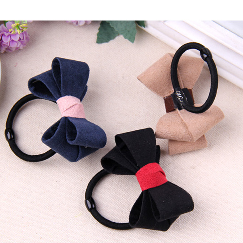 New Korean Cute Suede Cloth Black Hair Bows Hair Rope Headbands For Women Elastic Hair Bands Girls Rubber Bands Hair Accessories free shipping 10pcs lot new adult elastic hair bands women headwear for girls hair rope headbands accessories 14 colors 15cm