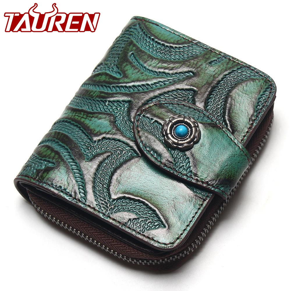 Tauren Accordion Wallet Brush Color Carve Flower Pattern Genuine Leather Retro Wallet Women Zipper Around Wallet lumion 3226 3c ln16 000 бронзовый пластик хрусталь люстра потолочная e14 3 40w 220v bruni