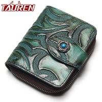 Tauren Accordion Wallet Brush Color Carve Flower Pattern Genuine Leather Retro Wallet Women Zipper Around Wallet
