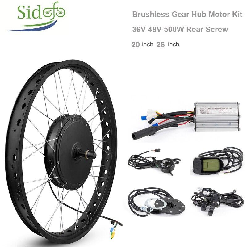 36V48V 500W Brushless Hub Motor Snow Motor Kit Rear Wheel 20 26 inch MTB Electric Bicycle Conversion fork 170mm Screw Flywheel