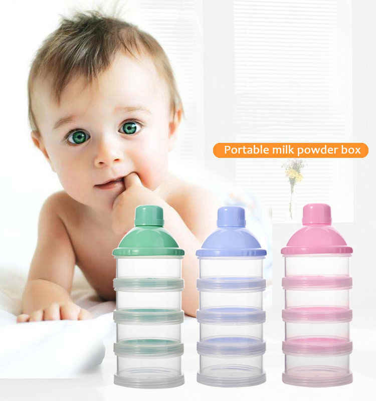 Portable Milk Powder Formula Dispenser Food Container Storage Feeding Box for Baby Kids Toddler Four Grid Baby Food Storage Box