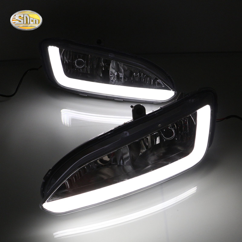 SNCN LED Daytime Running Lights for Hyundai Santa Fe IX45 2013 2014 2015 DRL 12V ABS Fog lamp house led daytime running lights for hyundai grand santa fe ix45 2013 2018 drl fog lamps