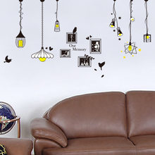 Wall Stickers For Kids Rooms Green PVC Removable Wallpaper Living Room Bedroom Creative Chandelier Wall Stickers(China)