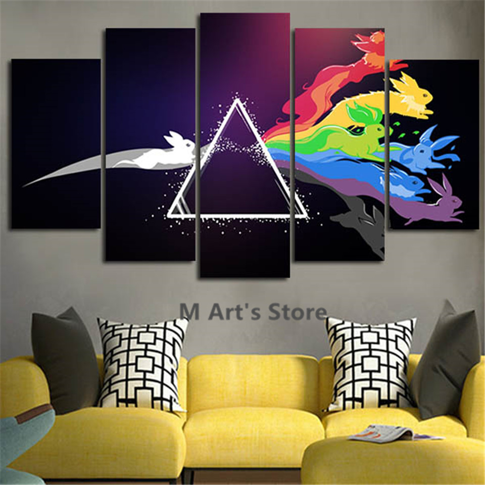 5piece Wall Art Pokemon Canvas Poster Painting On The Wall