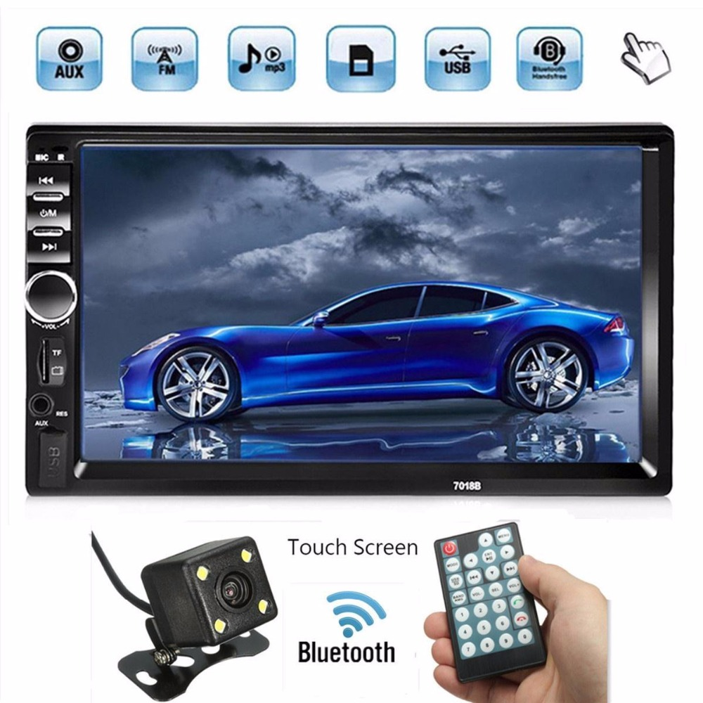 Vehemo Universal 7 Inch HD  Screen DC 12V Bluetooth Car Stereo 2 DIN MP5 USB/AUX/FM With Reversing Camera Touch Screen Hand Free 7 hd bluetooth touch screen car gps stereo radio 2 din fm mp5 mp3 usb aux z825
