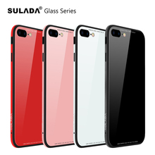 Фотография SULADA  Tempered Glass Case for iPhone 6 Case Silicon Metal Bumper for iPhone 7 8 Case Tempered Glass Back Cover for iPhone X