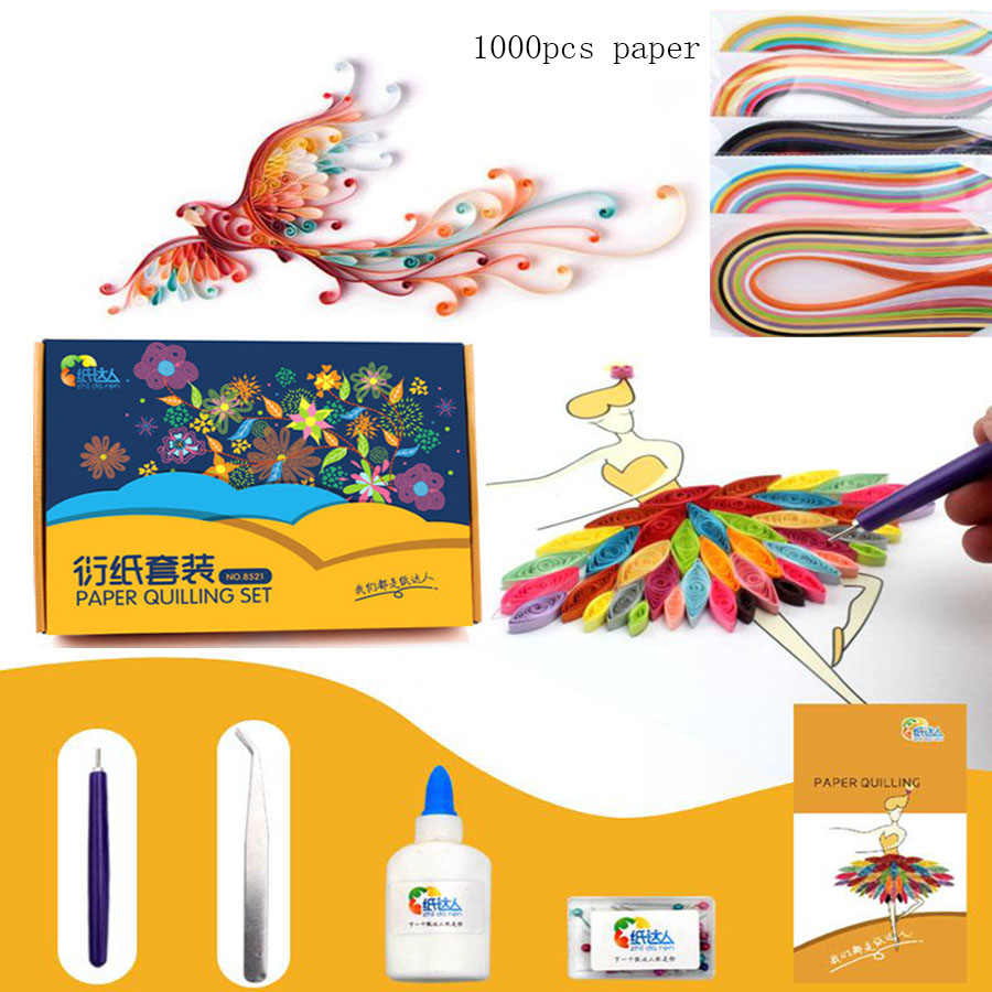 Children paper quilling toys with 1000pcs quilling paper Kids parents art craft DIY handemade paper folding