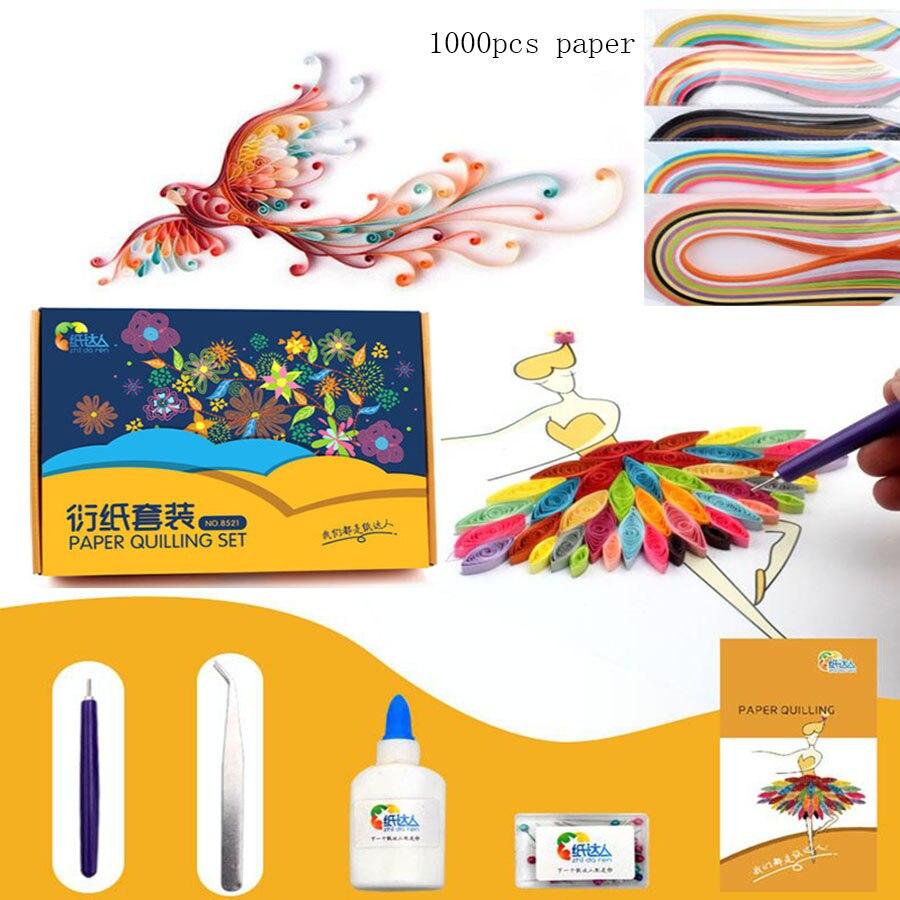 Enfants papier quilling jouets avec 1000 pièces quilling papier/enfants parents art artisanat bricolage handemade papier pliant jouets pour les filles
