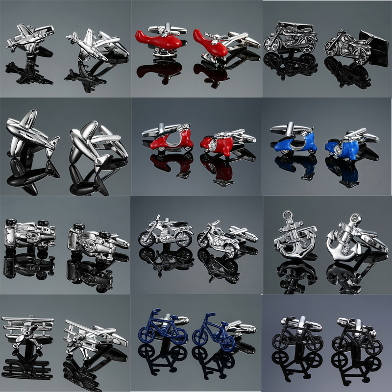 Jewelry & Accessories Jewelry Sets & More Dy New High Quality Brass Materials For Aircraft Car And Motorcycle Bicycle Cufflinks Men French Shirt Cufflinks Free Shipping