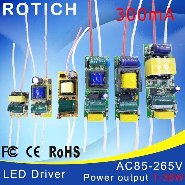 1-3 W, 4-7 W, 8-12 W, 15-18 W, 20-24 W, 25-36 W LED driver voeding ingebouwde constante huidige Verlichting 85-265 V Uitgang 300mA Transformator