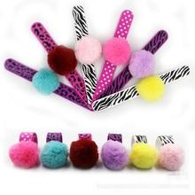 Jiangzimei 24pcs New styles Leopard, Point, Zebra,pink,blue Wool,Unicorn Silicone Bracelet for Kid Children girls party gift