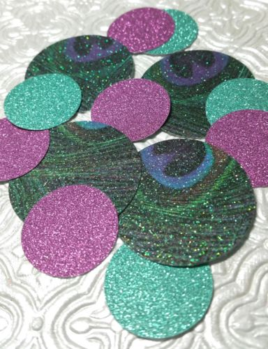 peacock purple teal dark mint confetti wedding baby shower anniversary birthday table decor scrapbook confettis