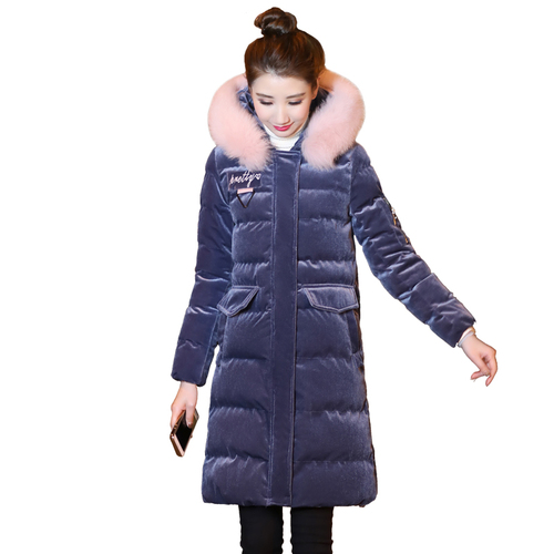 Cotton clothing female winter 2018 new Korean version of the thick cotton coat in the winter long section of gold velvet cotton|Parkas| - AliExpress