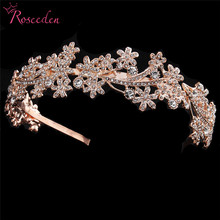 Rose gold Silver Crystal Wedding Tiara Bridal Princess Crown Hair Accessories Bridesmaids Jewelry Women Headpieces RE3277