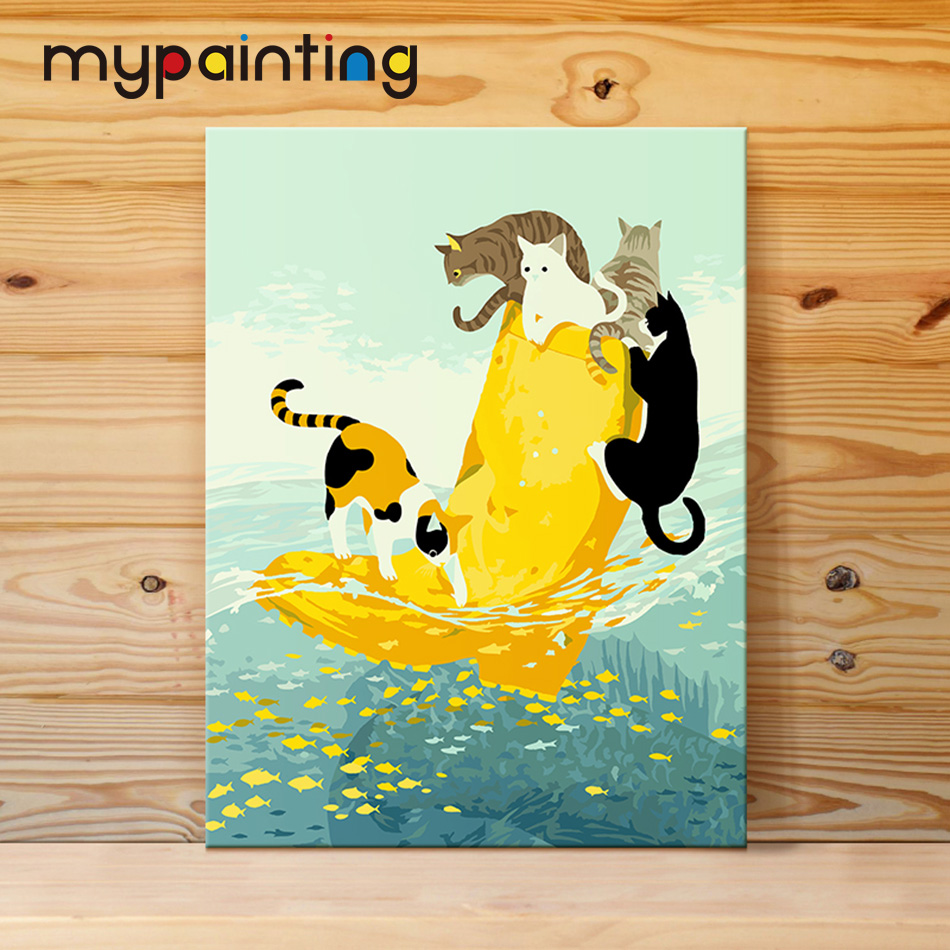 Diy oil painting by numbers cats\' boot wall decor canvas brush ...