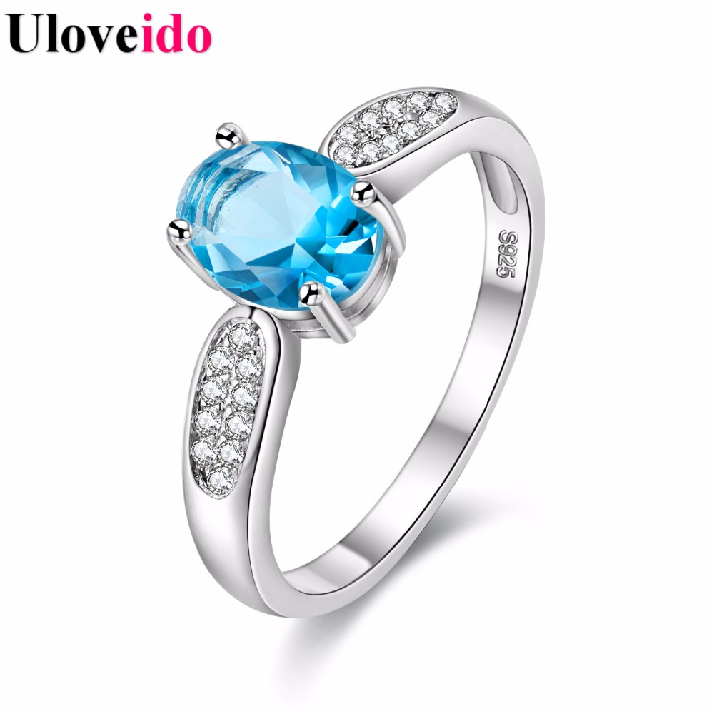 6 Colors 4 Sizes Crystal Wedding Ring Band Rings with Stones Womens Gifts Charms Engagement Jewelry Bague Femme Uloveido Y3170