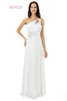 White 2019 Cheap Bridesmaid Dresses Under 50 A-line One-shoulder Floor Length Chiffon Beaded Long Wedding Party Dresses