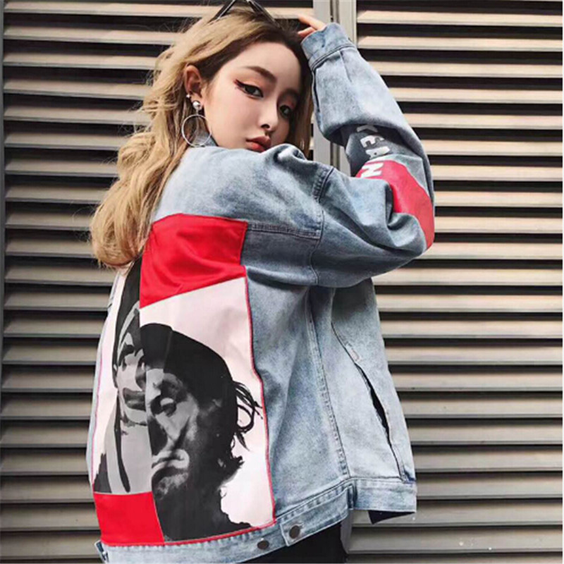 2018 Letters Printed Clown Cool Denim   Jacket   Coat Women Vintage   Basic     Jackets   Loose Outwear