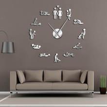 Девичник игра сексуальная Камасутра DIY для взрослых комнаты Декоративные гигантские настенные часы секс любовь позиция бескаркасные большие настенные часы искусство