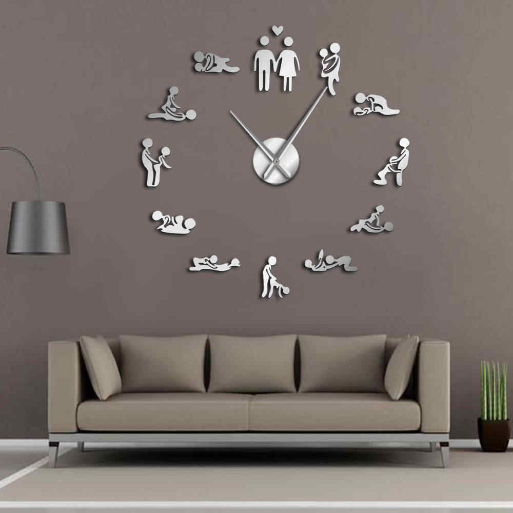 Bachelorette Game Sexy Kama Sutra DIY Adult Room Decorative Giant Wall Clock Sex Love Position Frameless Large Wall Clock Art