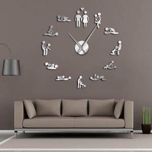 Bachelorette Game Sexy Kama Sutra DIY Adult Room Decorative Giant Wall Clock Sex Love Position Frameless Large Wall Clock Art(China)