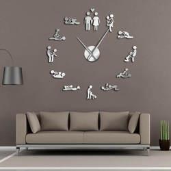 Juego de despedida de soltera Sexy Kama Sutra DIY sala de adultos decorativo reloj gigante de pared sexo amor posición sin marco pared grande arte del reloj