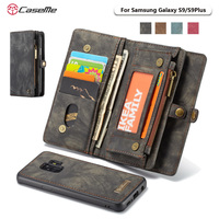CaseMe Genuine Leather Magnetic Hand Bag Case For Samsung Galaxy S9 S9Plus S9 Plus Multi Functional