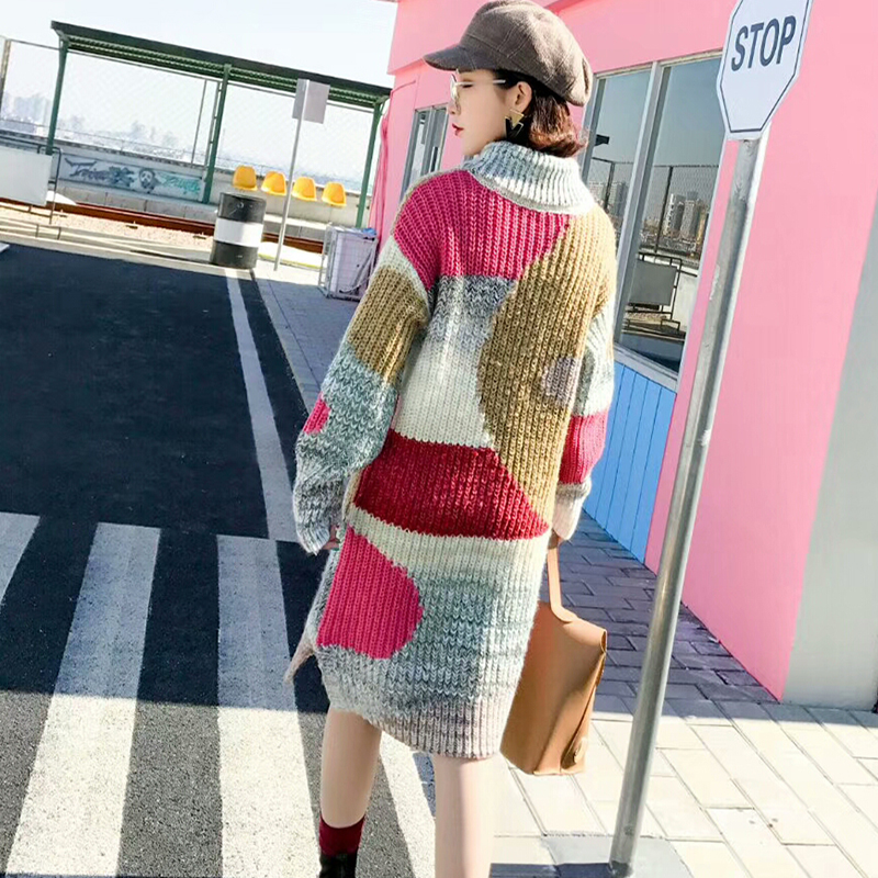 2018 New Thick Turtleneck sweater coat Fashion design knitting Pattern Sweater Slim Stretch women Pullover Long Sweater