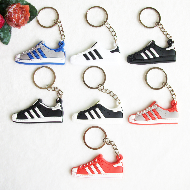 цена на Mini Silicone Superstars Keychain Bag Charm Woman Men Kids Key Rings Gifts Sneaker Key Holder Accessories Jordan Shoes Key Chain